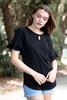 black ruffled sleeve top key hole crinkled knit (S-XL)