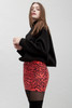 animal print mini skirt faux snake skin leather red (S M L)