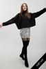 animal print mini skirt faux snake skin leather black and white (S M L)