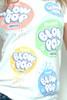 """Junk Food Vintage T-shirt 60/40 Charms BLOW POP Juniors Paint Splatter White L (18"""" Width)"""