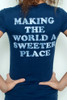 "Used Junk Food T shirt Tee 50/50 Tootsie Roll Making The World a Sweeter Place Dark Navy M (16"" width)"