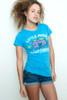 "Junk Food T shirt 50/50 Tee Little Miss Chatterbox Blue M (16"" width)"