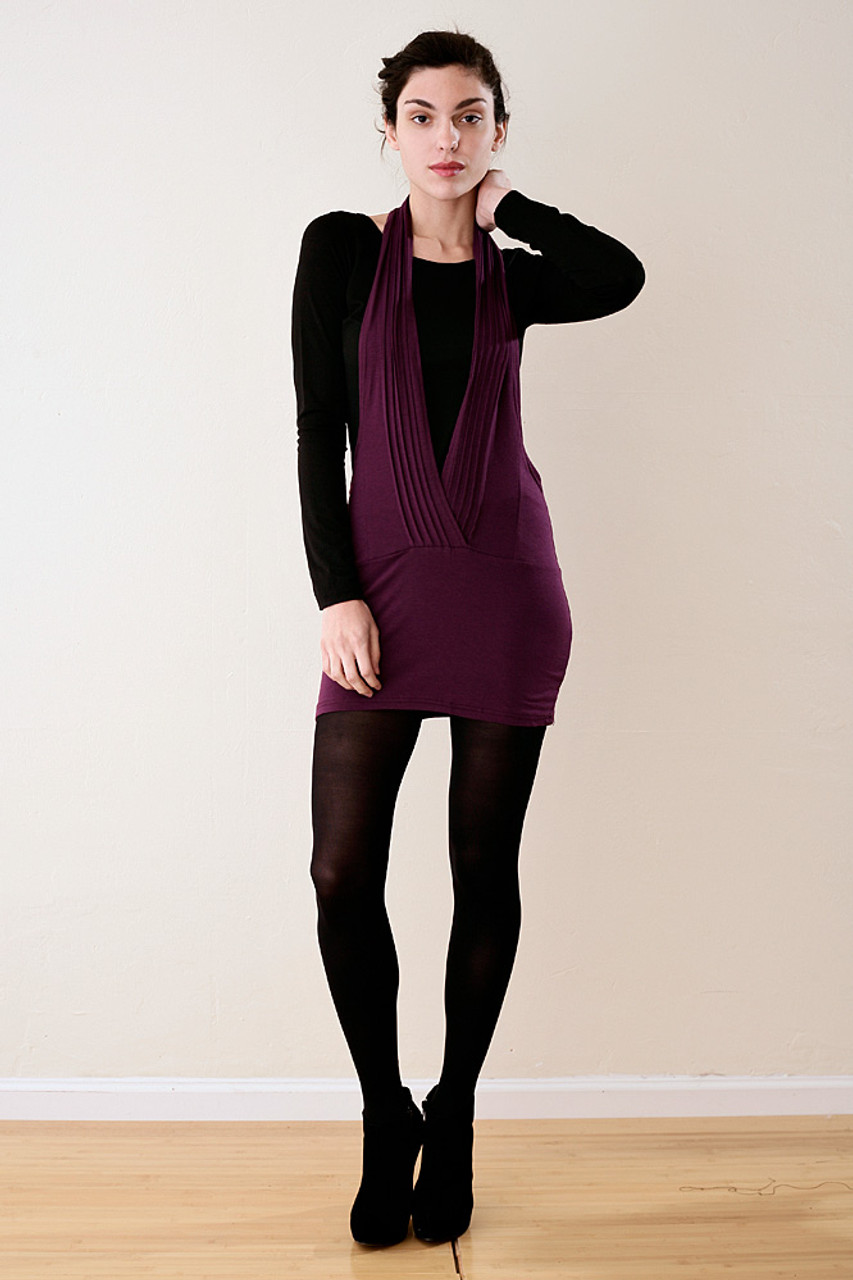 2 Piece Purple Black Halter Mini Bodycon Dress Top Set Xs S The