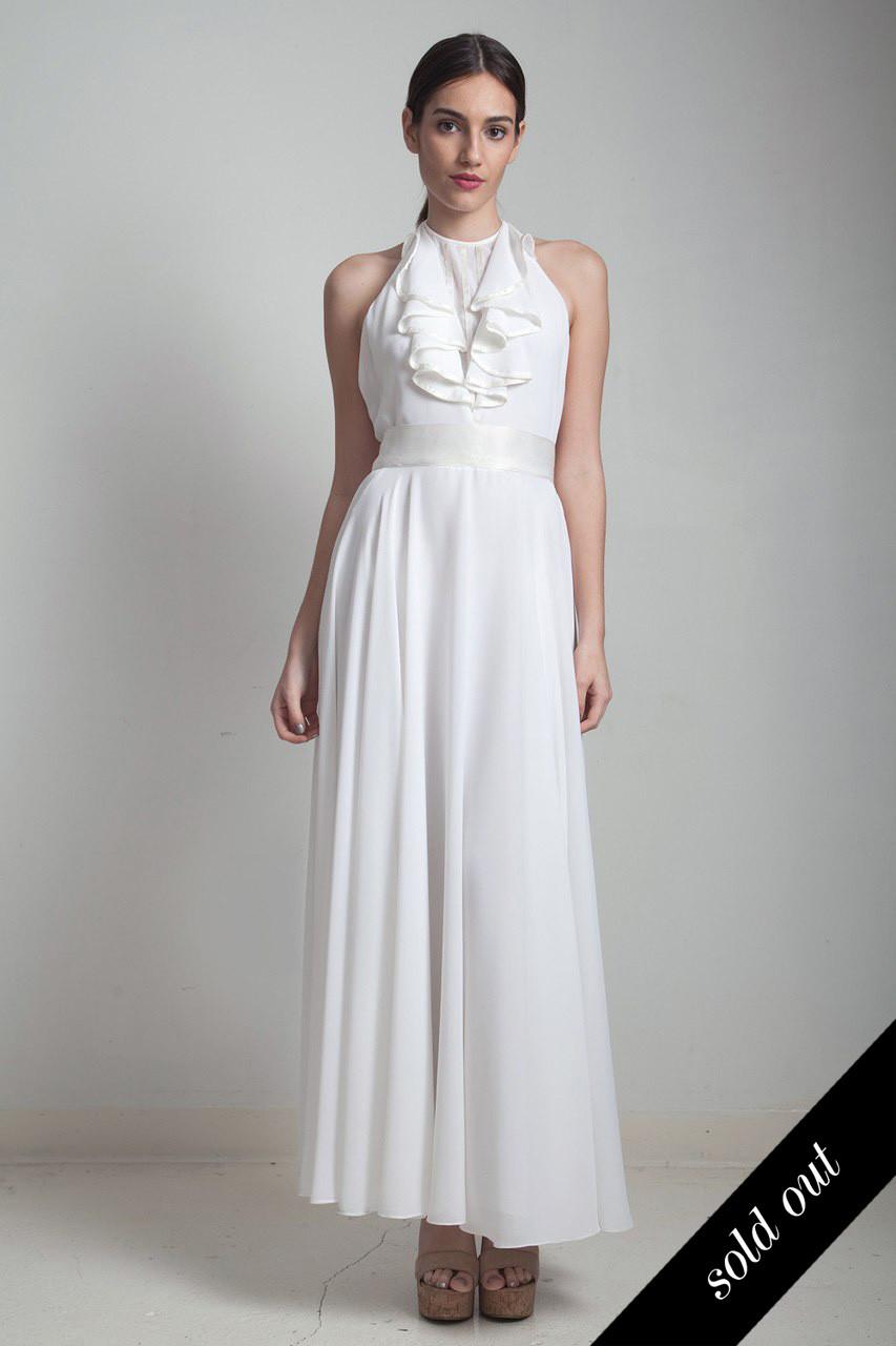 e326b93d7ac maxi halter dress flowy sheer white vintage 70s beach wedding bridal open  back tuxedo ruffles SMALL S - The Rabbit Hole