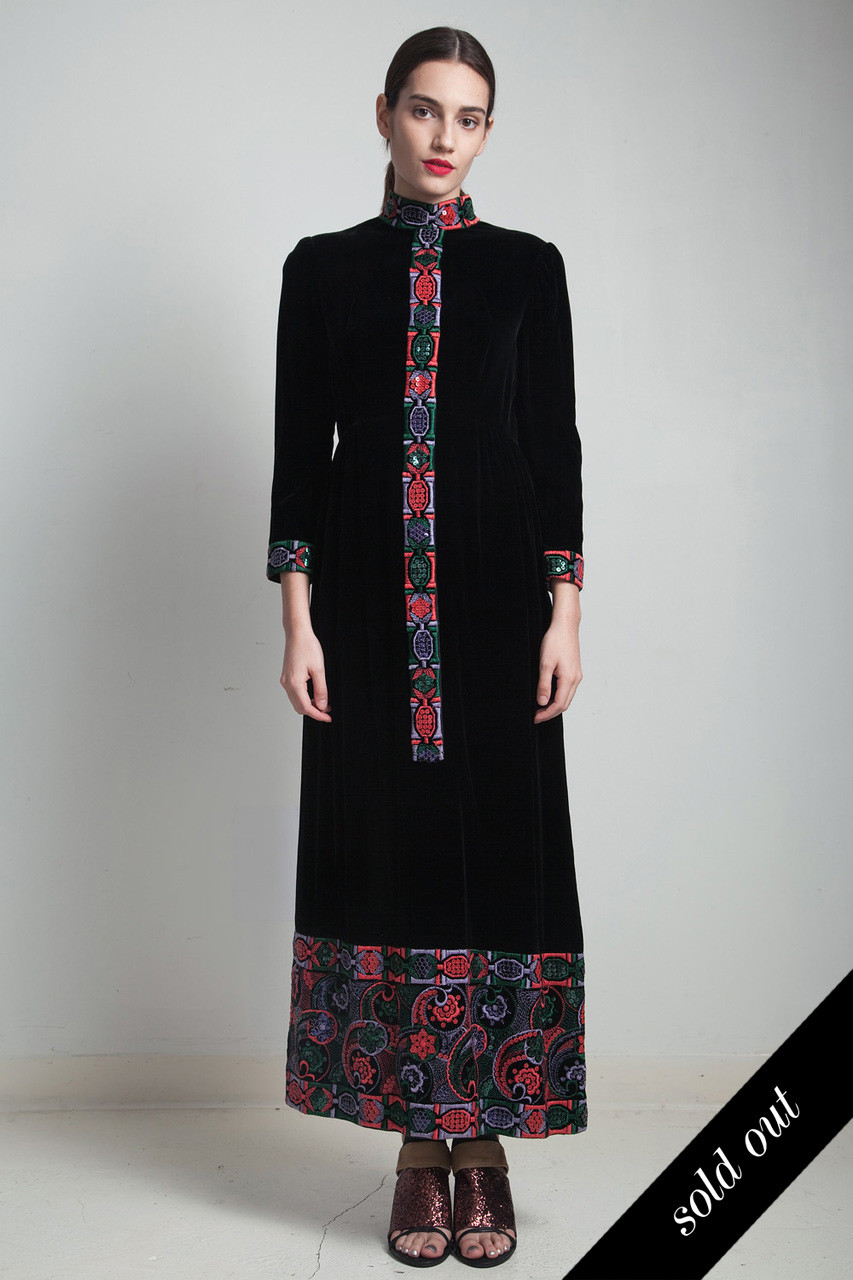 8383d4fa5ea VICTOR COSTA black velvet maxi dress vintage 70s sequinned embroidered long  sleeves ankle length MEDIUM M - The Rabbit Hole