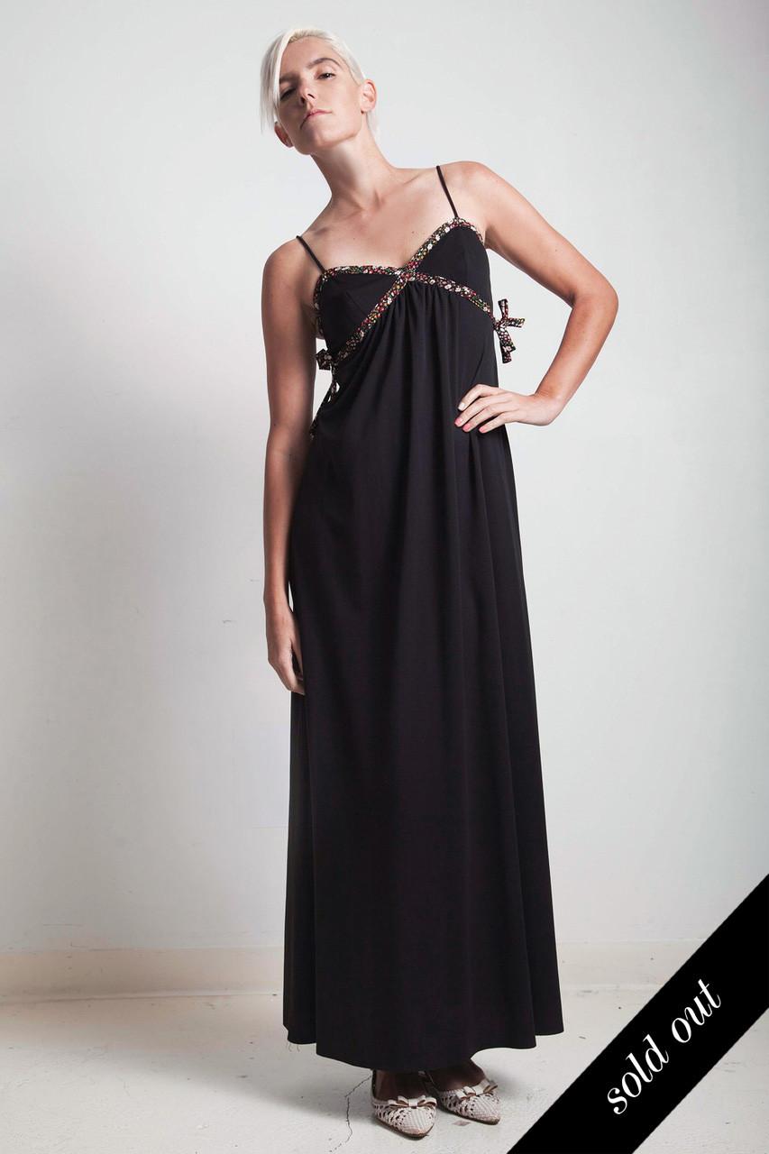 bfa0338b123 vintage 70s boho maxi dress black floral tie spaghetti strap SMALL S - The  Rabbit Hole