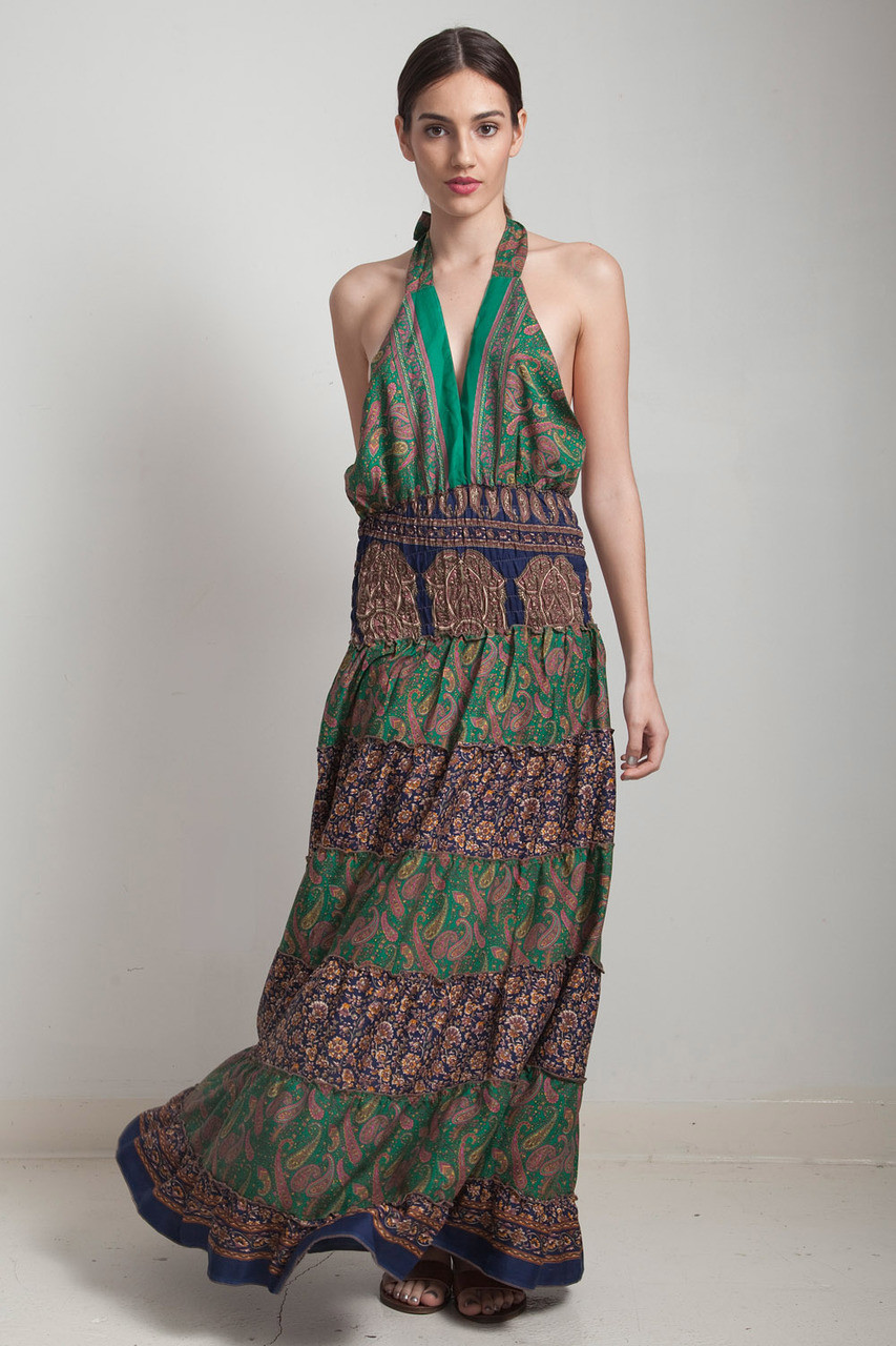 OOAK bohemian silk sari halter tiered maxi dress deep plunging open back  floor length flowy green navy blue floral paisley ONE SIZE S M L - The  Rabbit Hole c6a5e158e