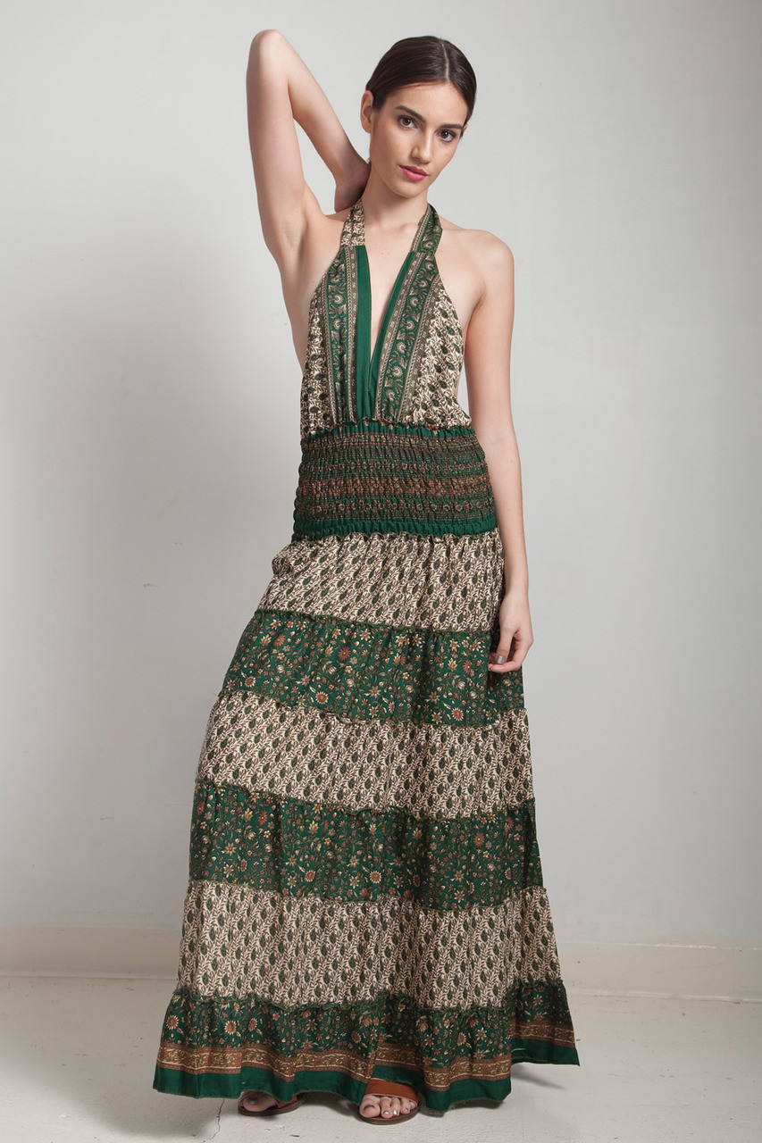 37a6a323 one of a kind boho tiered maxi dress bohemian silk sari halter deep  plunging open back floor length flowy green cream paisley floral ONE SIZE S  M L - The ...