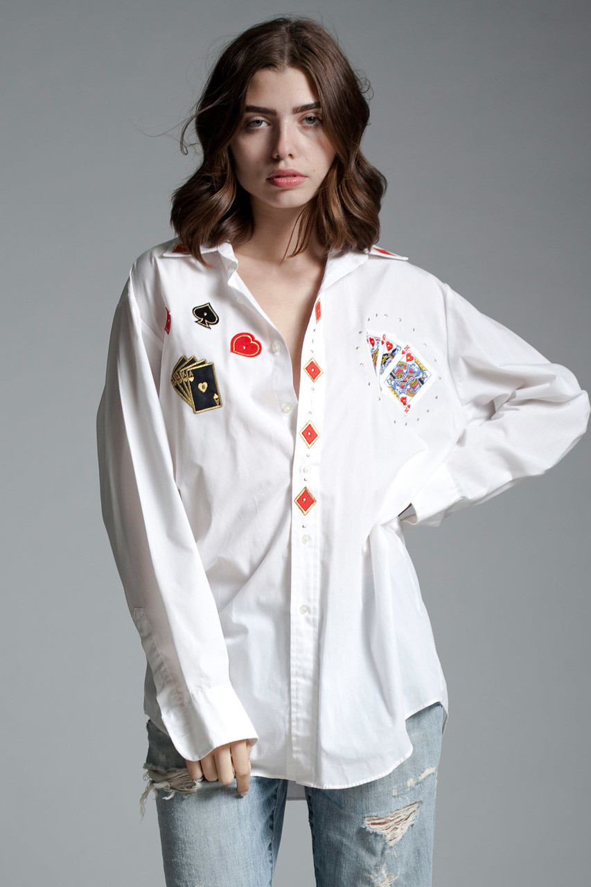 vintage bedazzled white dress shirt card suit poker game applique patches  studs long sleeves extra large plus size XL 1X