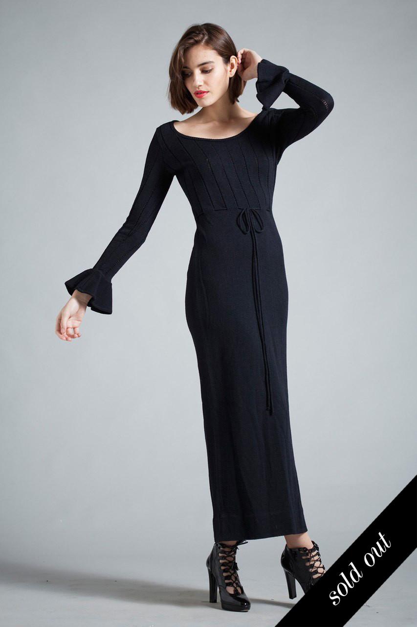 3bac7f445c5f vintage 70s maxi sweater dress black flounced bell long sleeves eyelet  MEDIUM M - The Rabbit Hole