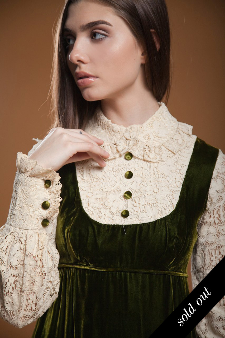 1425a1b3a1f vintage 70s prairie maxi dress pinafore empire green velvet cream crochet  lace peter pan collar long sleeves SMALL S - The Rabbit Hole