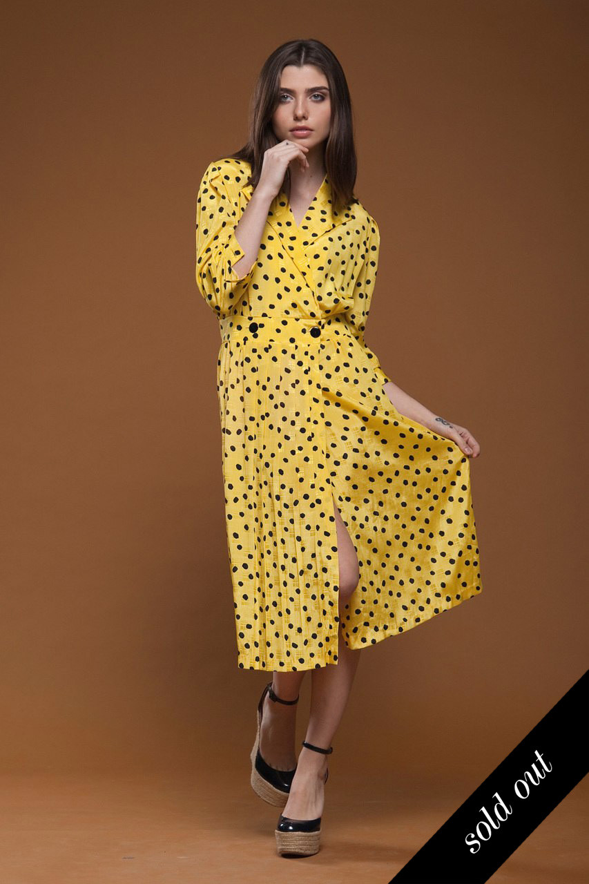 3e3341167e16 vintage 80s pleated wrap midi dress yellow black polka dot crinkled MEDIUM M  - The Rabbit Hole