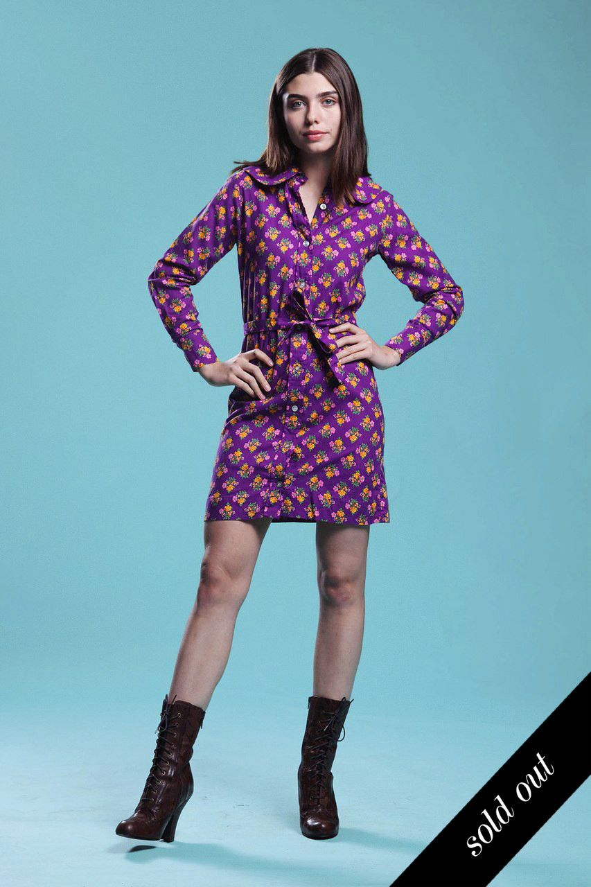 Peter Pan Collar Shirt Dress Duster Belted Cotton Purple Floral