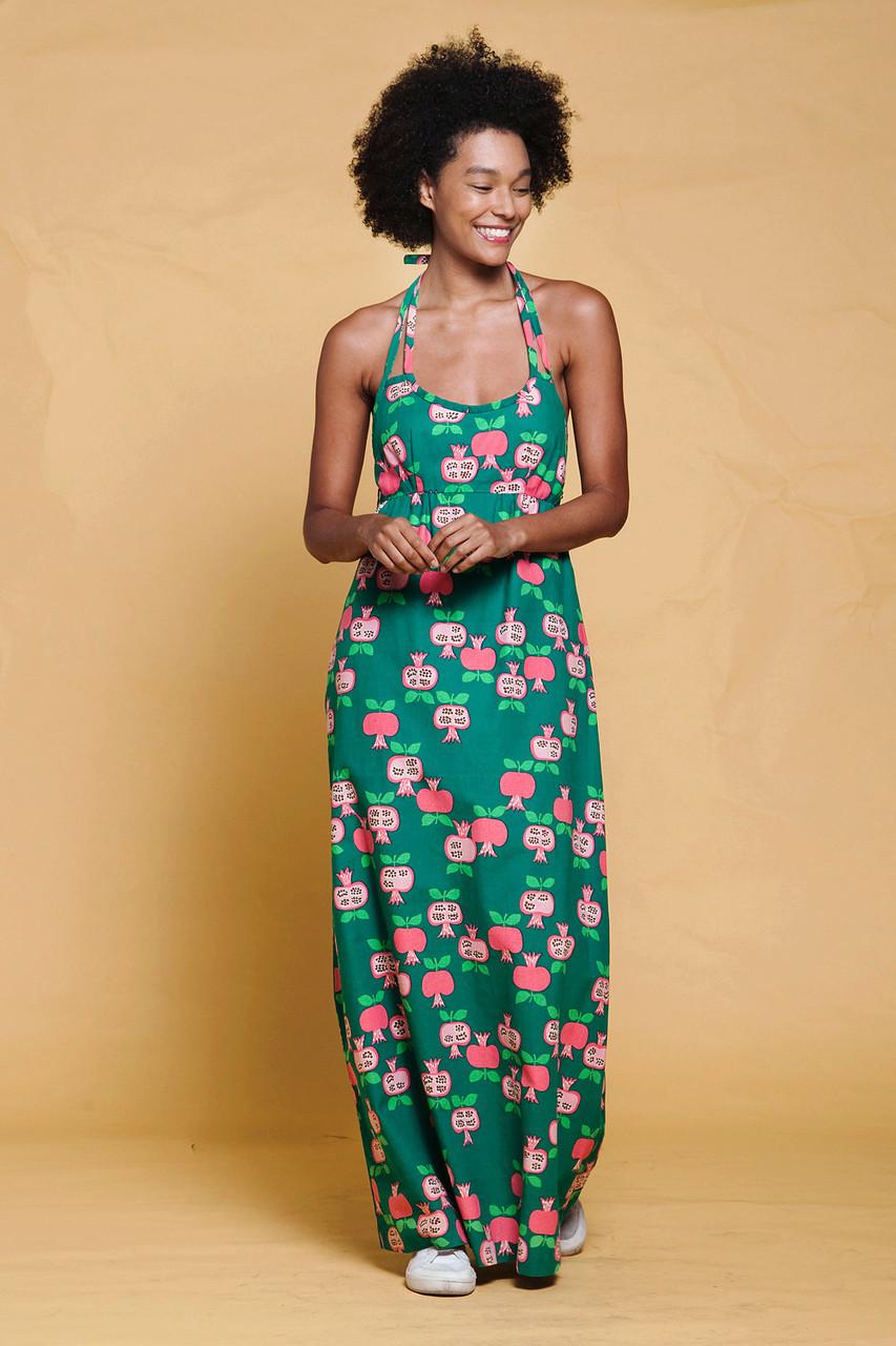 d92255d829da halter maxi dress pomegranate fruit print Hawaiian green pink kitschy  vintage 70s SMALL S - The Rabbit Hole