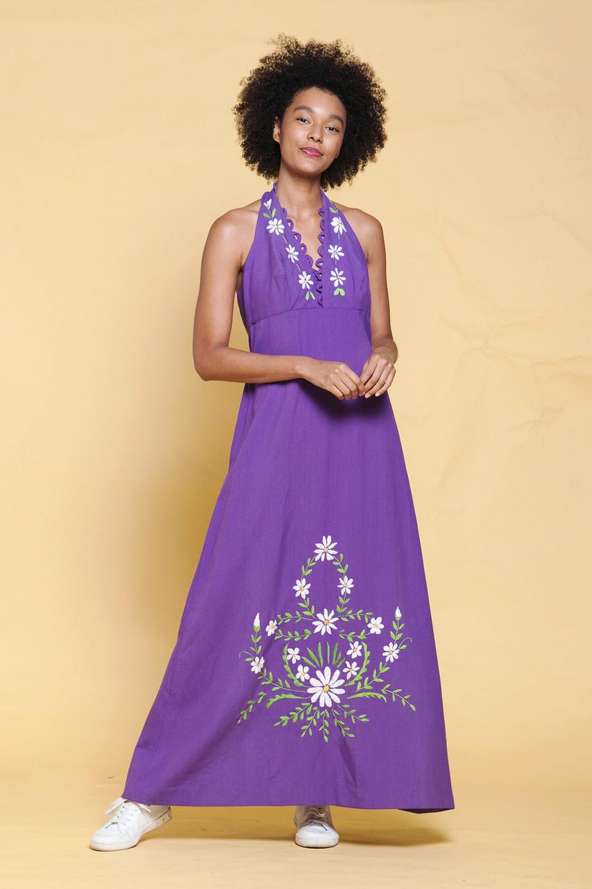 61d13b0ca713 halter maxi dress purple cotton floral hand embroidery empire waist vintage  70s MEDIUM LARGE M L - The Rabbit Hole
