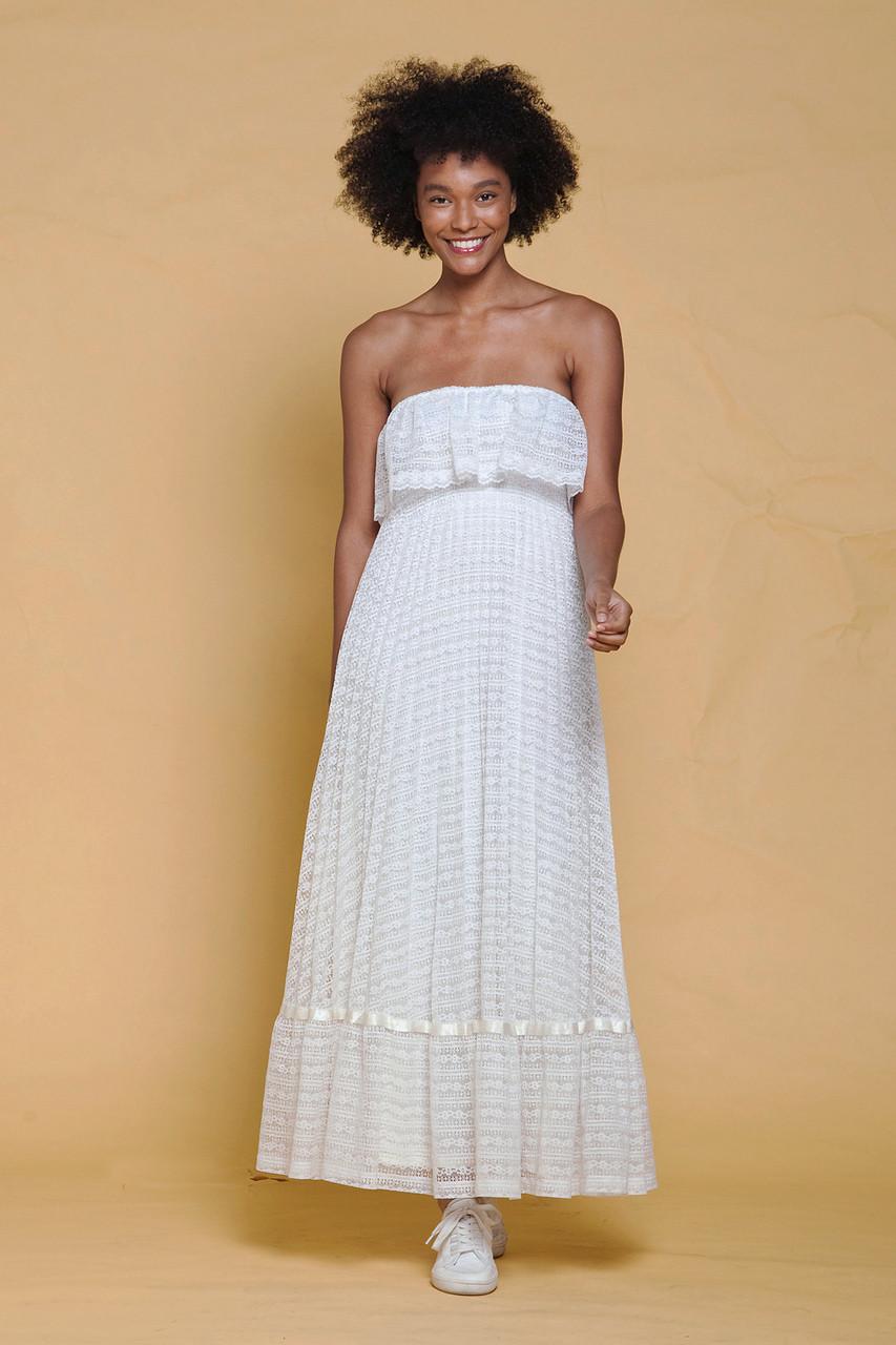 8539f315f21d boho maxi dress white lace strapless ruffles bohemian bride bridal vintage  70s XXS XS EXTRA SMALL - The Rabbit Hole