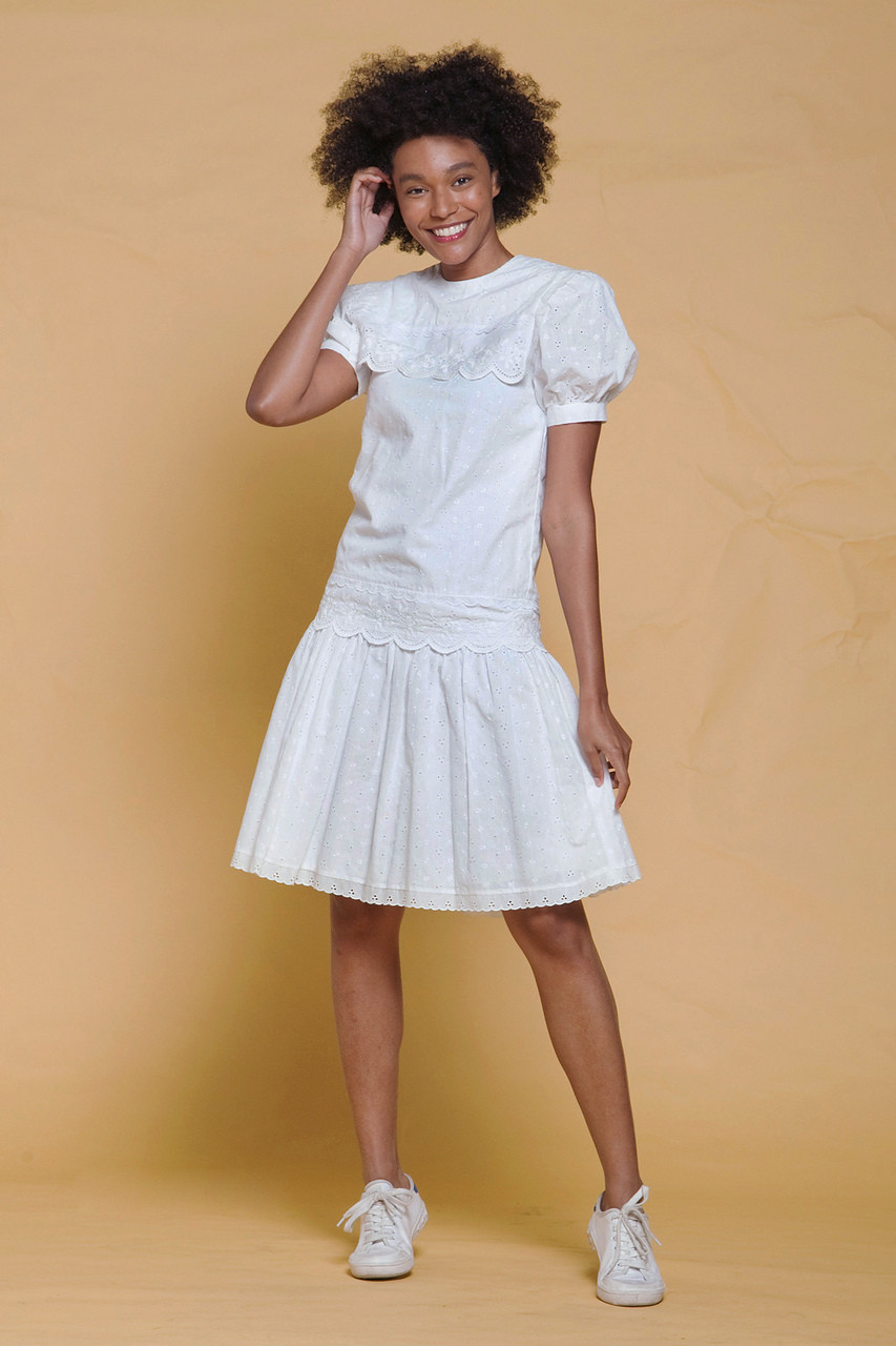 27ac39a62ca Gunne Sax dress white eyelet embroidery cotton scallop sailor collar drop  waist puff sleeves vintage 80s SMALL S - The Rabbit Hole
