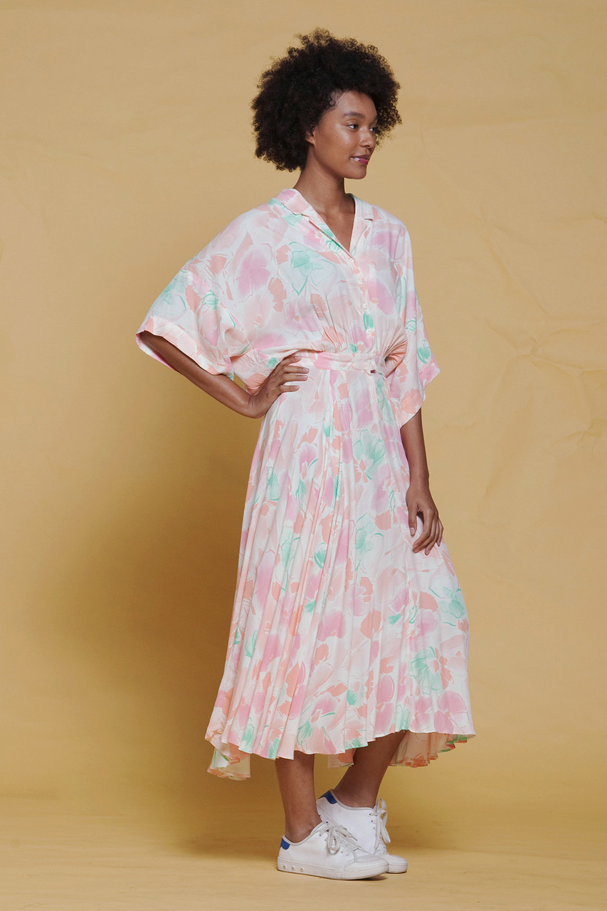 fe3e4bf71d22 LANVIN dress flowy oversize draped midi watercolor floral print pink  vintage 70s SMALL MEDIUM S M - The Rabbit Hole