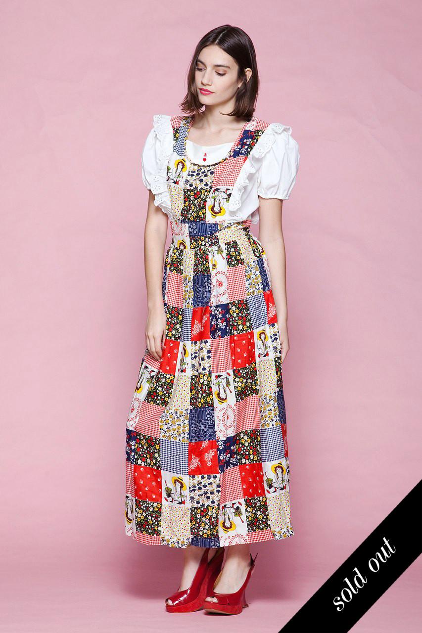 e90fd740f86 maxi dress pinafore prairie cheater cloth faux quilt raggedy ann floral  unworn vintage 70s LARGE L - The Rabbit Hole