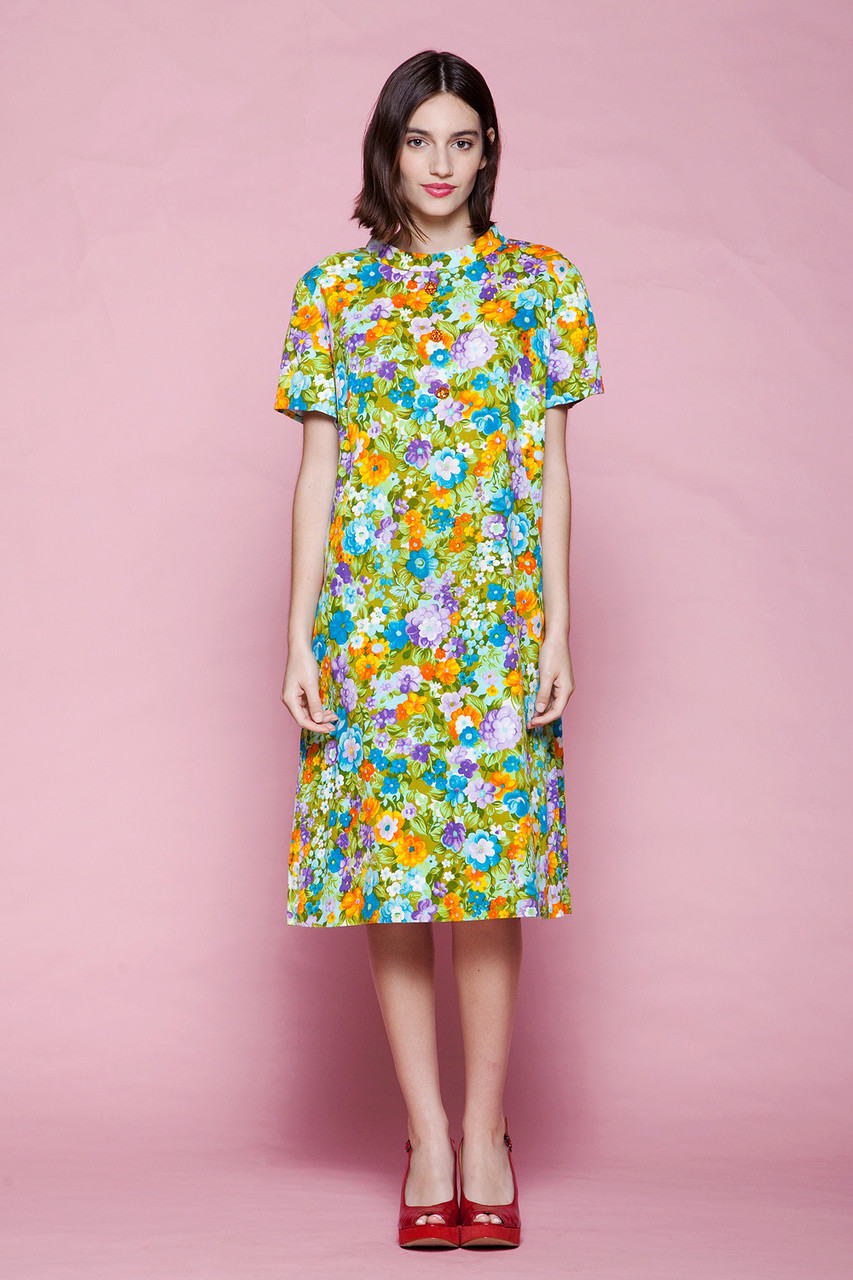 plus size vintage 60s mod a-line dress floral barkcloth cotton ...