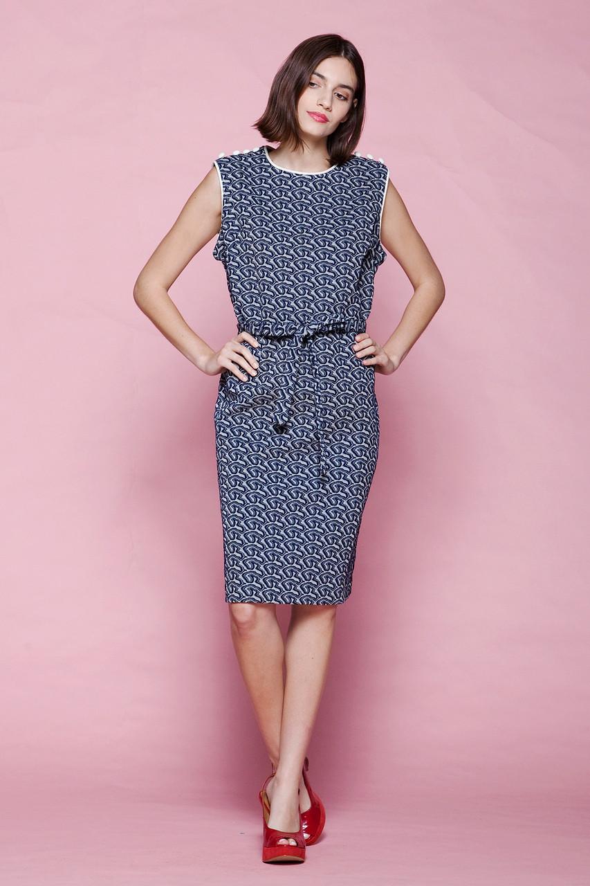 plus size unworn vintage 60s belted dress sleeveless navy blue white ...
