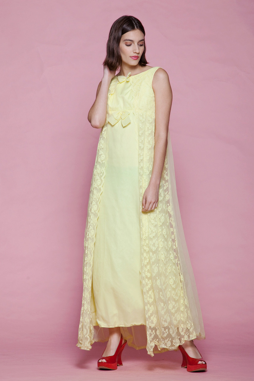 d8c8ebd401d evening dress yellow lace cape gown bow sleeveless maxi vintage 60s EXTRA  SMALL XS XXS - The Rabbit Hole