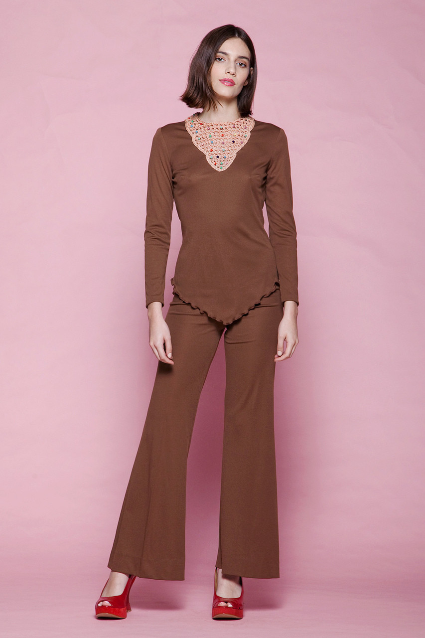ab390481 boho pant set matching top 2-piece brown pantsuit jumpsuit cowl open back  beaded macrame vintage 70s EXTRA SMALL - SMALL XS S