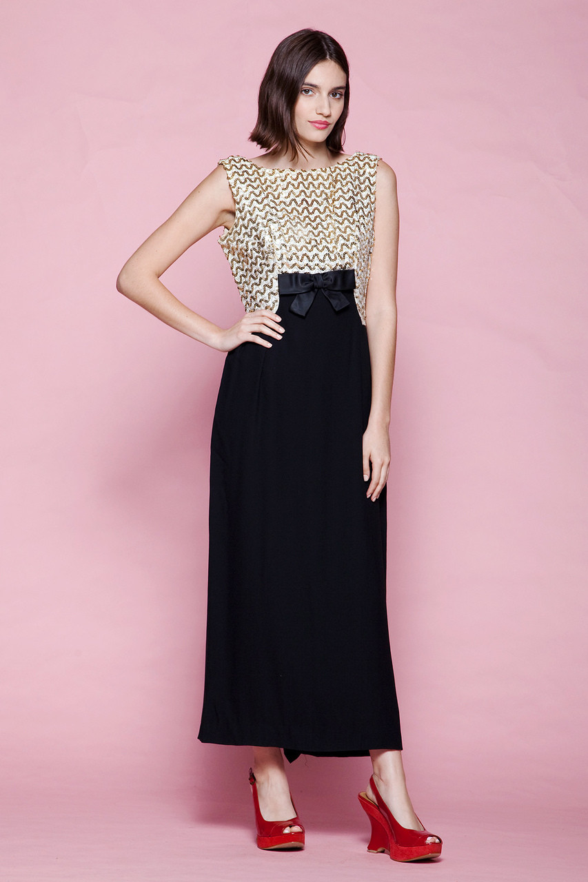 sequined evening dress formal gown black gold sleeveless vintage 60s MEDIUM  M afc47ee93