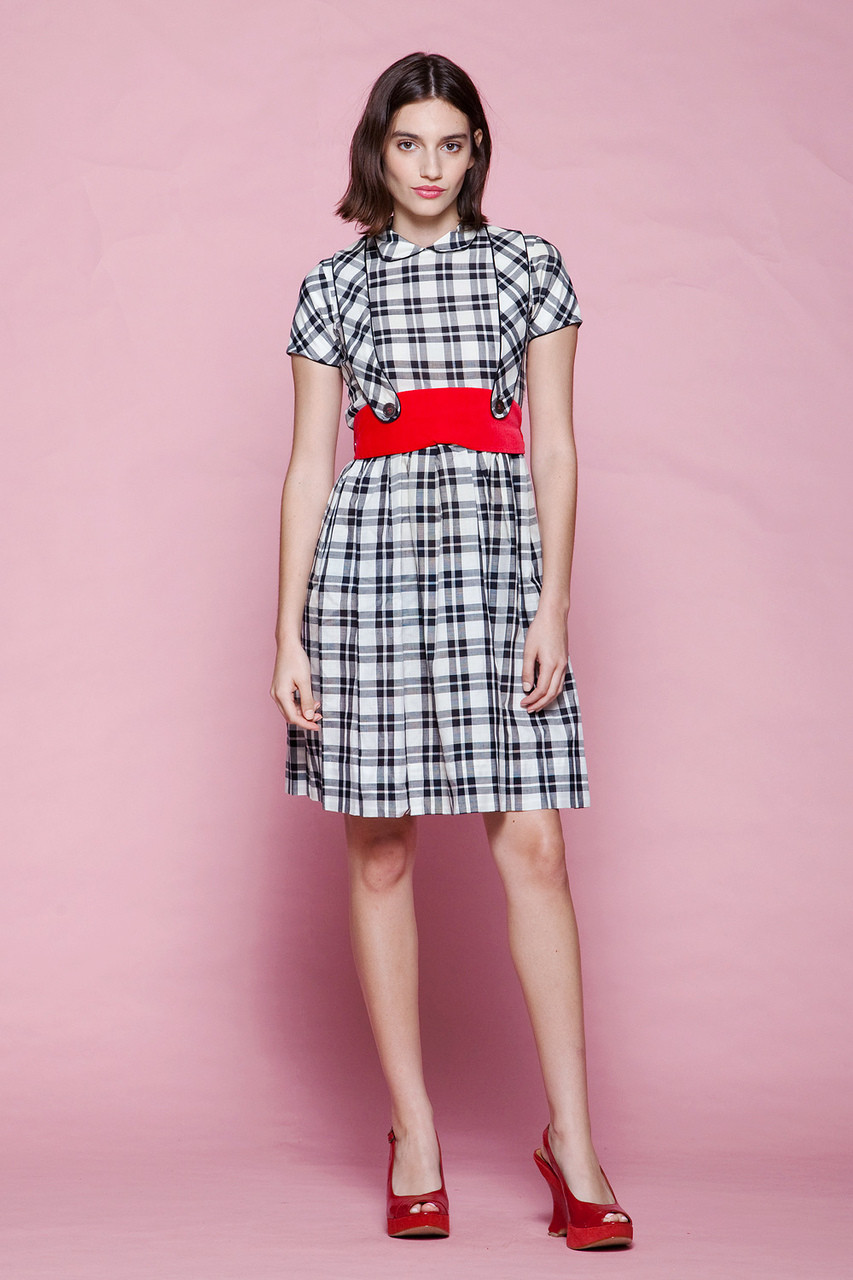 b11306b73a pinafore dress Peter Pan collar unworn vintage 60s baby doll gingham plaid  black white red EXTRA SMALL XS - The Rabbit Hole