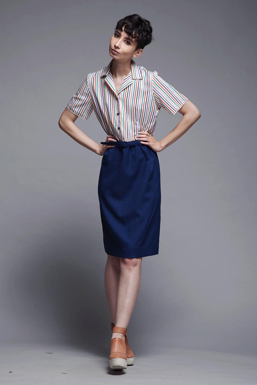 44917b451 belted shirtwaist dress secretary stripes short sleeves navy blue vintage  70s MEDIUM M - The Rabbit Hole