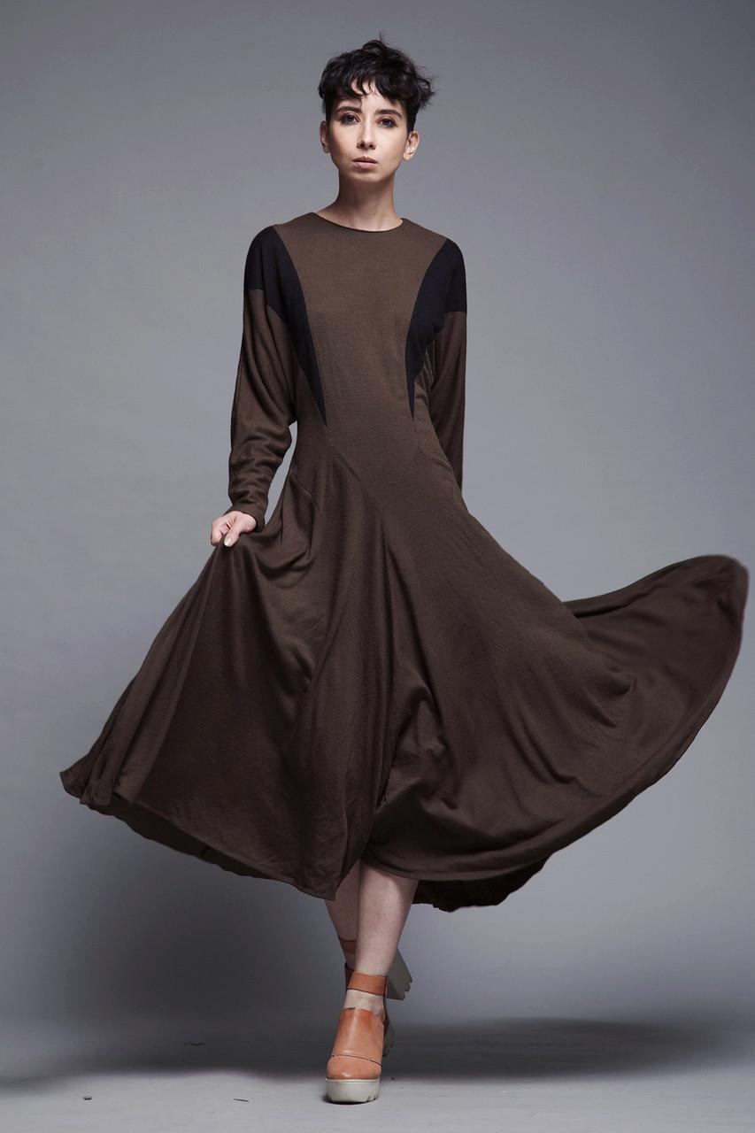 0f85d7cedb545e wool knit midi dress long batwing sleeves black brown minimalist vintage  80s MEDIUM LARGE M L
