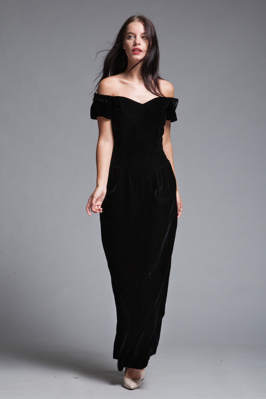 99920daa808c0 evening gown black velvet dress glam off the shoulder full length vintage  80s SMALL S