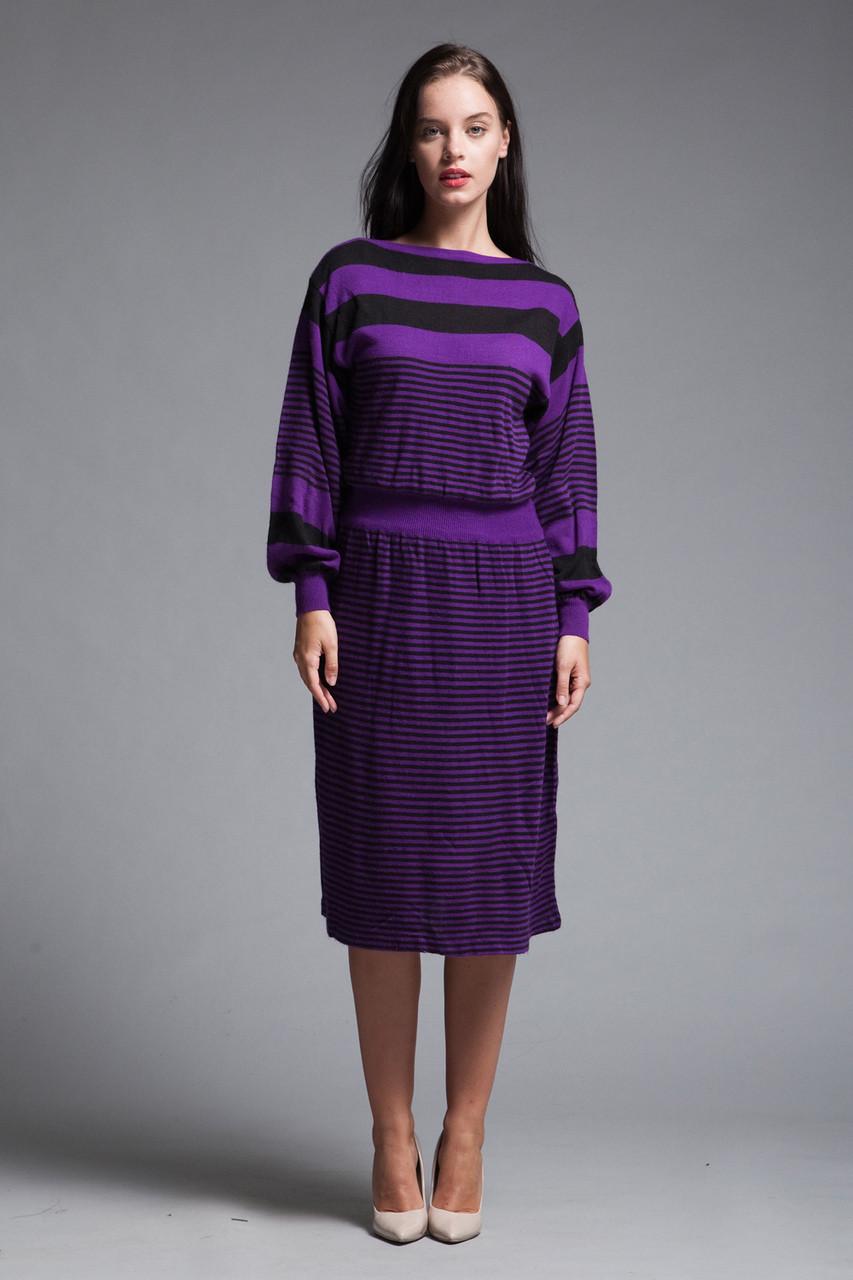 b6acd6a6de80 sweater dress purple black striped knit long puff sleeves vintage 80s  Jordache MEDIUM M - The Rabbit Hole