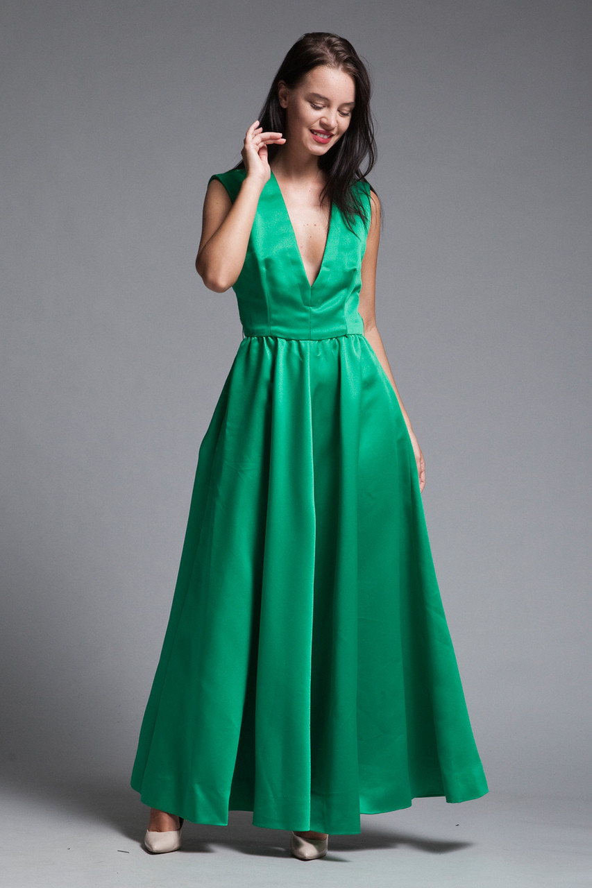 c8ecbf343 evening gown prom dress full skirt with pockets deep plunging v neck green  satin vintage 60s SMALL S - The Rabbit Hole