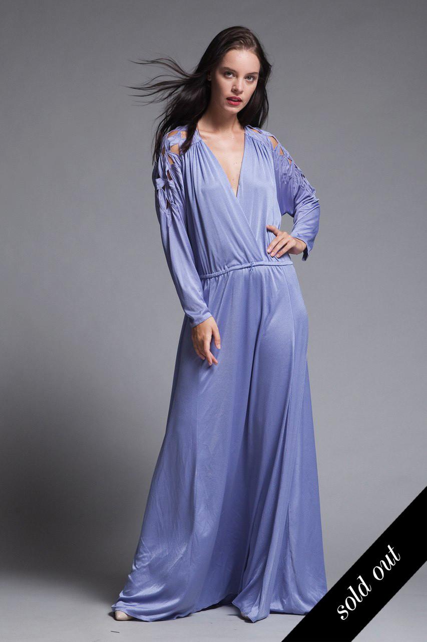 55e9f153d396 plus size maxi dress cutout soutache leaf eyelet slinky soft draped purple  knit vintage 70s XL 1X - The Rabbit Hole
