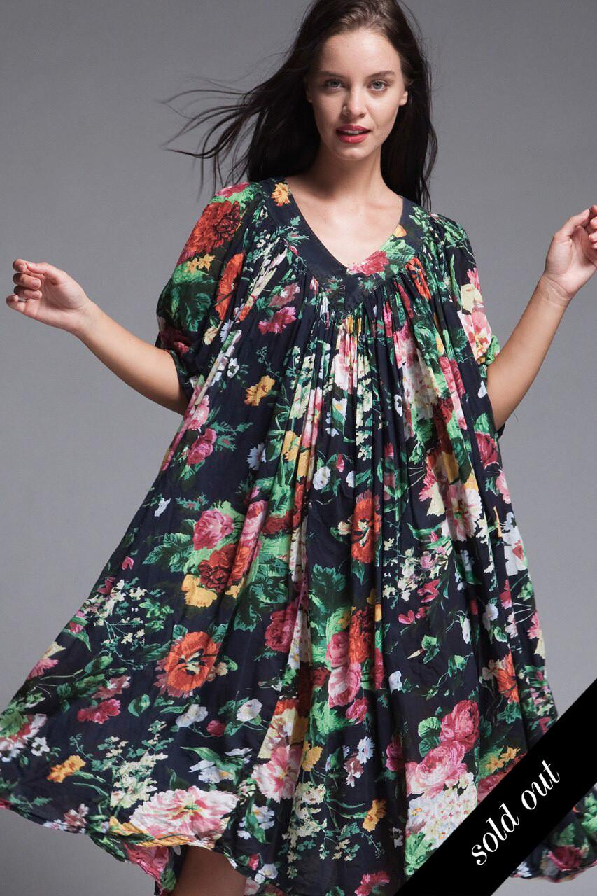 plus size boho gauze cotton muumuu flowy tent dress black floral ...