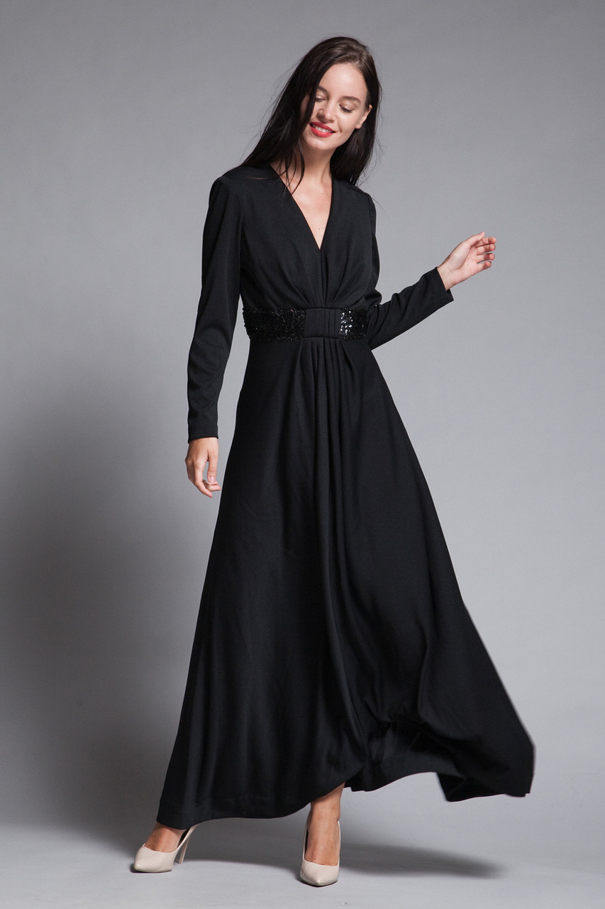 c72ed7a3d3f maxi dress black knit sequined long sleeves v neck gathered front vintage  70s MEDIUM LARGE M L