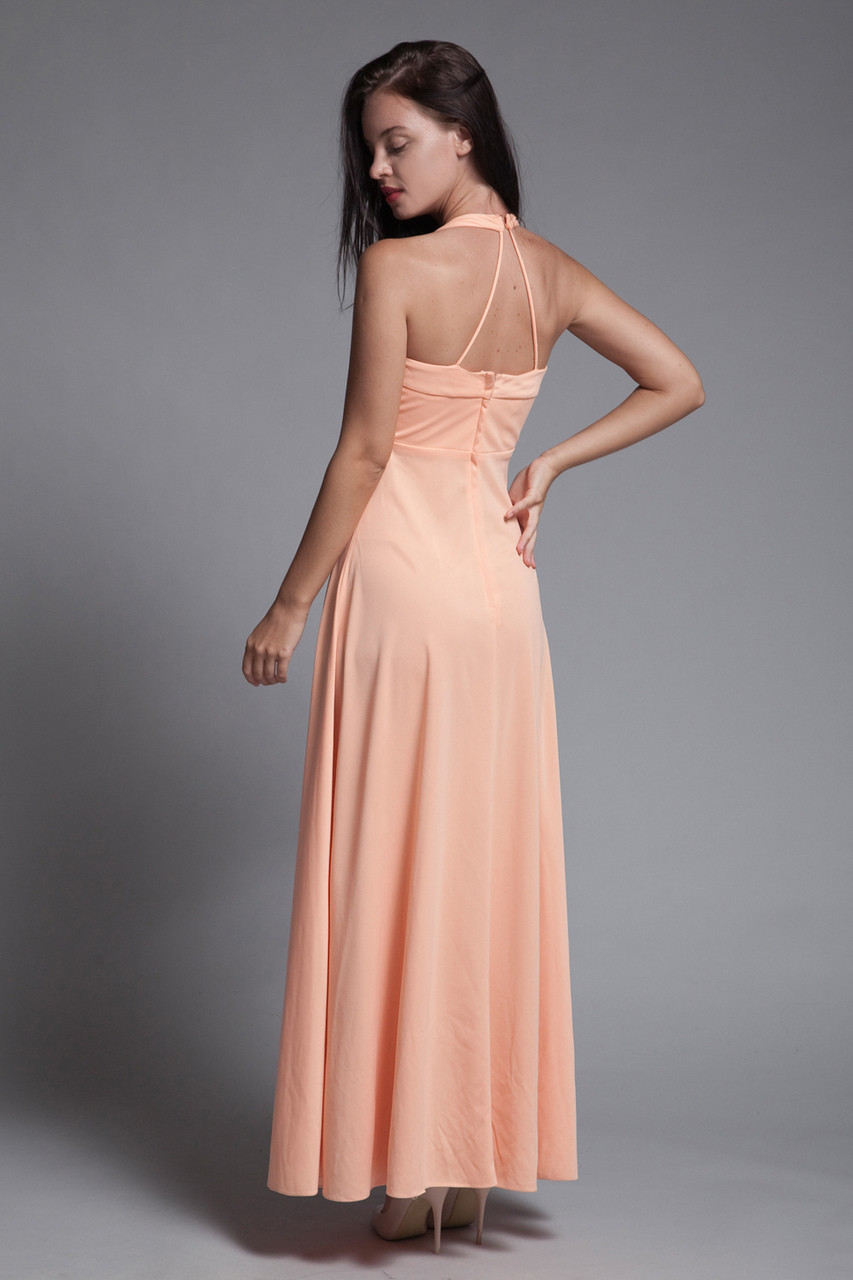 87d9852a93c halter maxi dress empire pleated bust peach orange vintage 70s EXTRA SMALL  XS