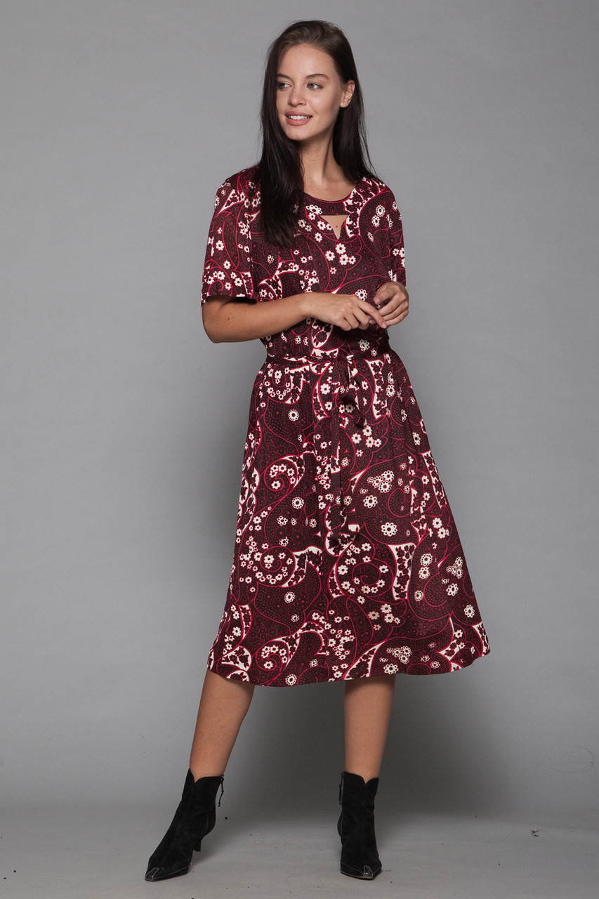 plus size vintage 60s 1X 2X day dress paisley floral black red belted  cutout short sleeves