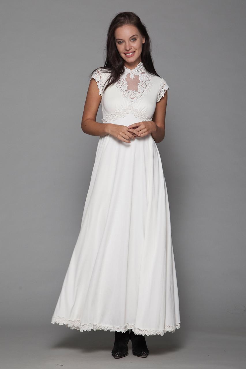 Boho Bride Bohemian Wedding Dress Maxi Gown Empire Lace Trims Sleeveless Vintage 70s Xs Extra Small
