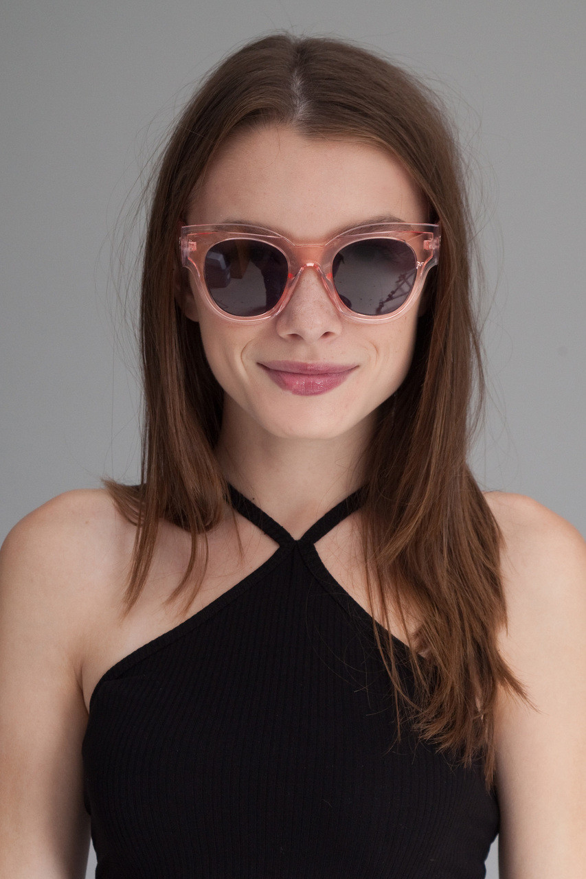 8b6f070545 oversize translucent inset frame sunglasses CLEAR PINK - The Rabbit Hole