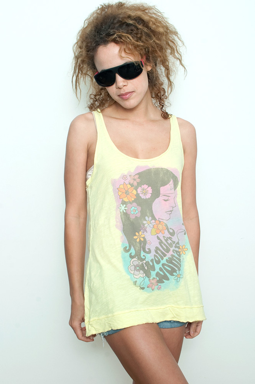 7557aae3 Junk Food T shirt Tee Tank Top 100% Cotton Wonder Woman Hawaiian YELLOW L  (16