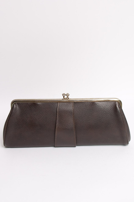 Vintage Long Convertible Purse Gold Chain Clutch Gold Hardware Brown Pebbled Faux Leather
