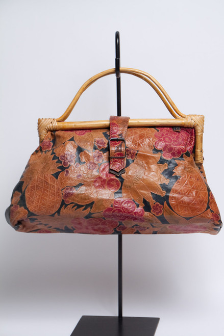 stamped leather purse 1980s Indonesian wooden handles