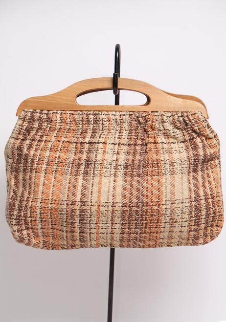 small brown handbag 70s woven lined clutch purse bag wooden handles
