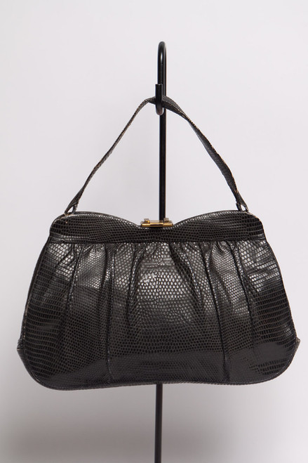 vintage 60s black lizard skin bag handbag petal purse metal clasp