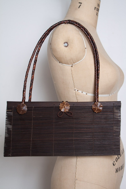 bamboo stick purse wood vintage brown coconut shell flower buttons