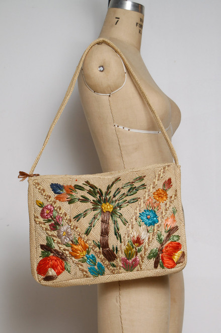 colorful straw bag vintage woven palm tree floral summer purse