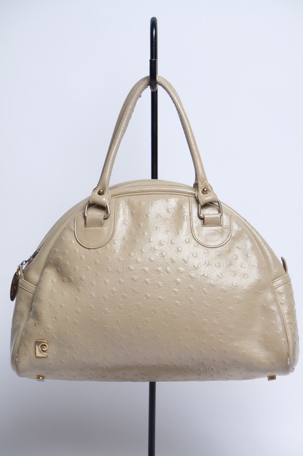 vintage Pierre Cardin purse handbag faux ostrich skin taupe