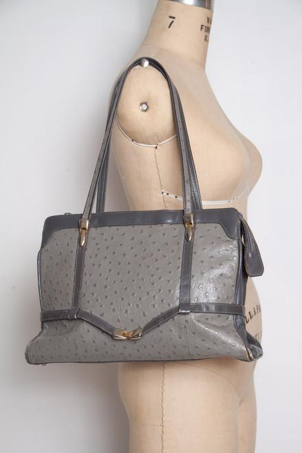 gray faux ostrich skin vintage bag Birks classic handbag gold tone hardware